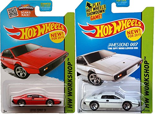 Hot Wheels #219 Set James Bond Lotus Esprit Spy who Loved Me 007 White & Red in PROTECTIVE CASES 2015