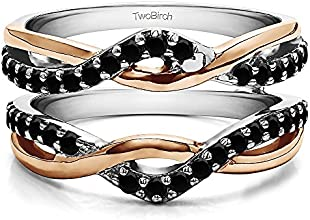 Silver Criss Cross Infinity Ring Guard Enhancer with Black Diamonds 057 ct twt