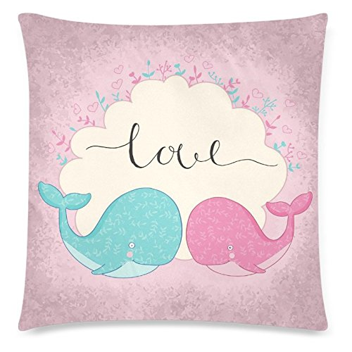 InterestPrint Pink Cute Whale Floral Print Home Decor, A Wreath of Plants Pillowcase 18 x 18 Inches - Happy Valentine's Day Pillow Cover Case Shams Decorative