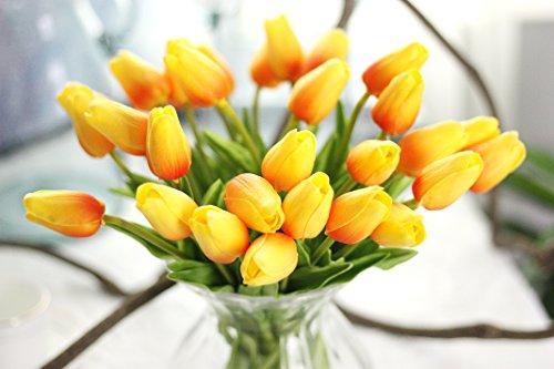 Coobl® Artificial silk flower High grade decorative tulip flower wedding bouquet bride holding garlands vine DIY Floral art plant bride Home Decor(24pcs) (orange)