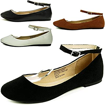 Alpine Swiss Women's Suede Lined Calla Ankle Strap Ballet Flats