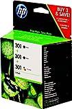 HP 301 Tintenpatronen 3er-Pack (1x dreifarbig + 2x schwarz)