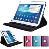 GMYLE(TM) Black 360 Degree Rotating PU leather Folio Stand Case Cover for tablet Samsung Galaxy Tab 3 10.1 P5200 P5210 P5220 With Vertical and Horizontal Multi Angle Stand