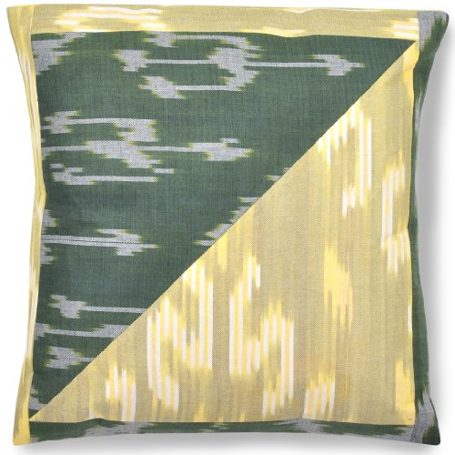 Forest Sunrise - Ikat Pillow Cover, 18 Inch, Cotton/Silk, Handmade.