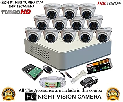 Hikvision DS-7116HGHI-F1 Mini 16CH Dvr, 12(DS-2CE56COT-IR) Dome Cameras (With Mouse, 2TB HDD, Bnc&Dc Connectors,Power Supply,Cable )