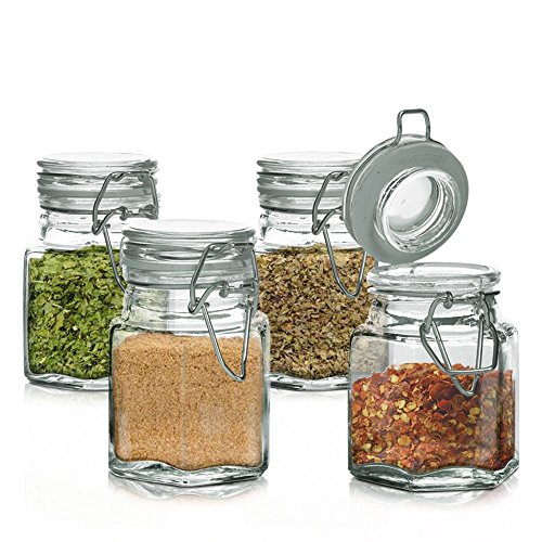 Mini Set of 4 Hexagon Glass Jars 3.38-oz, Bail & Trigger Locking Lids - Spice, Herb, Baby Food Storage and Display Containers Set (Glass Bottle Bail Lid compare prices)