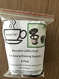 4-pack! Deluxe Coffee and Tea Filter for Keurig 2.0 Manufactured Exclusively for Valuecafe- Reusable, Permanent Reusable Single-cup Filters for Keurig K200, K300, K400 K500 Series 4-pack!