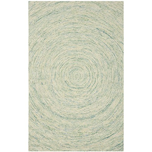 Safavieh Ikat Collection IKT635A Handmade Ivory and Blue Wool Area Rug, 5 feet by 8 feet (5' x 8')