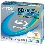 TDK 録画用ブルーレイディスク BD-R 25GB 1-4倍速 ホワイトワイドプリンタブル 10枚パック BRV25PWB10K