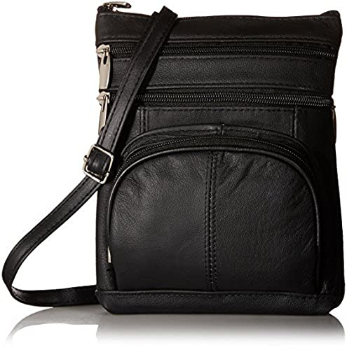09. Roma Leathers Genuine Leather Multi-Pocket Crossbody Purse Bag