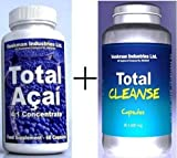 Pure Acai Berry Extract 2000mg dose & Colon Cleanse 9092mg Dose - For Detox & Weight Loss - 30 Day Supply of Each