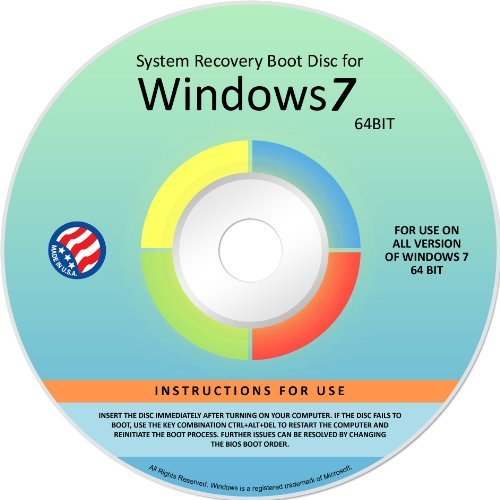 Windows 7 ANY Rendition 64-bit Repair Recovery Restore Re Connect Fix Boot Disk DVD