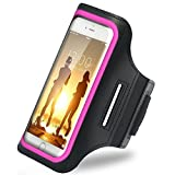 iBenzer Premium Water Resistant Exercise Armband with Key & ID Card Holder For iPhone 6, 6S and 4.7 Inch Screen Phone Reflective Strip Pink US-AB0147PK