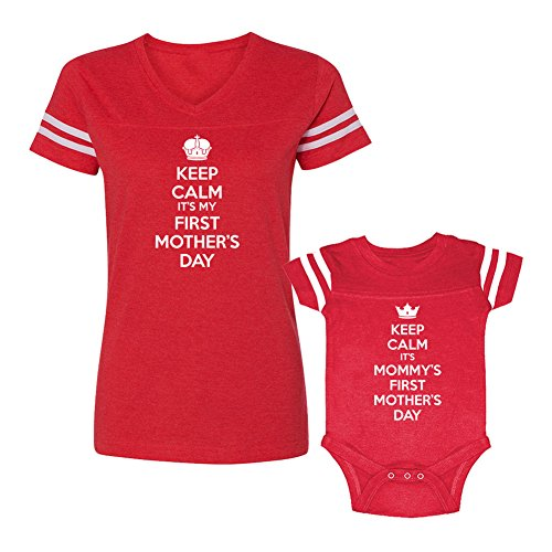 We Match! Keep Calm Mommy's First Mother's Day Ladies Football Shirt & Bodysuit