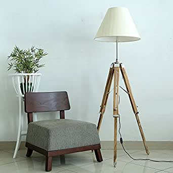 Craftter Handloom Textured Stripes White Fabric Cone Shape Shade Wooden Tripod Floor Lamp