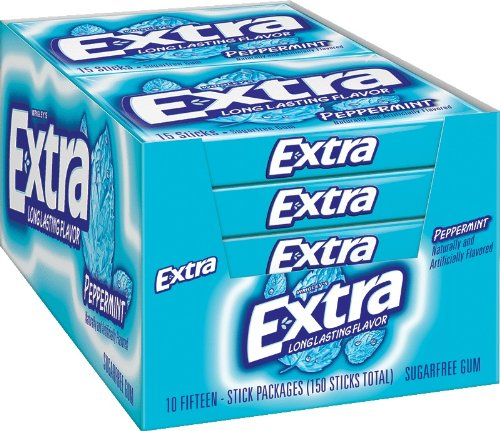 Extra Peppermint Gum, 15-Stick Slim Packs (Pack of 20) (Extra Gum Peppermint compare prices)