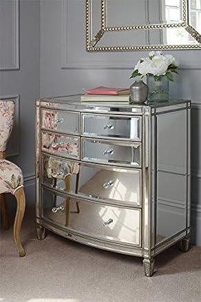 MY-Furniture - ANTOINETTE Cassettiera / Cassettone / Comò a specchio in vetro temprato