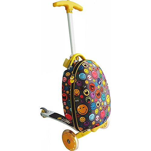 pb travel The Smiley Scootie - Kids Carry-On with Foldable Scooter (Yellow)