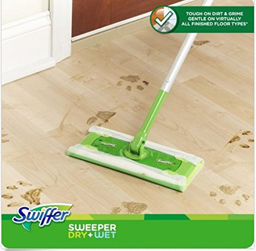Swiffer Sweeper Floor Mop Starter Kit Dry cloths have 3X Cleaning Action on Dirt, Dust & Hair Wetjet Cleaner Sweeping Kit Wet Dry (Swiffer Sweeper Wetjet compare prices)