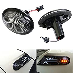 See iJDMTOY OEM Fit Black Smoked Side Marker Lamps with Amber LED Lights For 2006-2014 MKII MINI Cooper (2nd Gen) Details