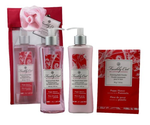 Upper Canada Soap & Candle Freshly Cut In Bloom Gift Set with Body Wash and Lotion, Poppy Flower with Pummelo