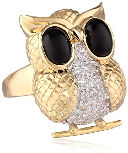 "18k Gold Over Sterling Silver Black Onyx and Created White Sapphire ""Owl"" Ring, Size 7"