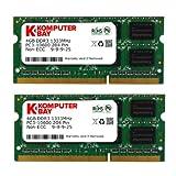 Komputerbay 8GB (2x 4GB) DDR3 SODIMM (204 pin) 1333Mhz PC3-10600 (9-9-9-25) laptop portatili di memoria per Apple...