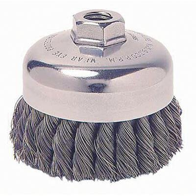 Weiler Steel Cup Brush - Threaded Arbor Attachment - 4 in Dia 5/8-11 UNC Center Hole - 0.023 in Bristle Dia & 10200 Max RPM - With Internal Nut - 12826 [PRICE is per BRUSH]