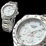 スイス・ブランド デイトナDesign ダイヤモンド使用 メンズ クロノグラフ腕時計 【TECHNOS SWISS】 Dial/White Hands/Silver 全4色