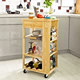 SoBuy Nature Wooden Kitchen Storage Serving Trolley Cart with 3 Side Shelves Removable Mesh Basket, FKW12-N