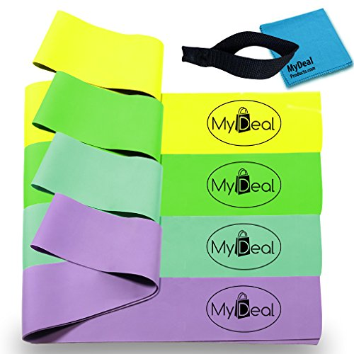 MyDeal SportGYM Fitness Stretch Band 6pc Portable Exercise Set with 4 x 100% Natural Latex Flat Elastic Fitness Bands ( 48 x 2.5 inches, Light, Medium, Heavy, Extra Heavy ), Door Anchor and Water-Resistant Carrying Case - For Improved Stretching , Flexibility, Training and Injury Rehabilitation in Baseball , Softball , Tennis , Golf , Boxing , Basketball , Football , more! Includes Cleaning Cloth (Football Throwing Gloves compare prices)