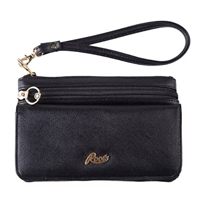 Roots - Ladies' Slim Clutch With Removable Wristlet Pu Leather - Black