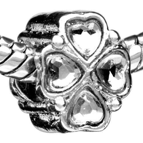 Bling Pugster Bead Four-Petal Flower Pattern European Charm Bead Plated Fits Pandora Bracelet