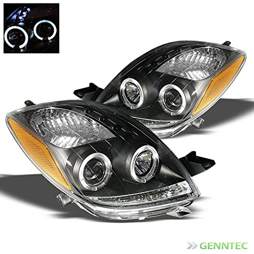 2006-2008 Toyota Yaris 3 Door Twin Halo LED Projector Headlights Black Head Lights Pair Left+Right 2007 (Toyota Yaris Performance Parts compare prices)