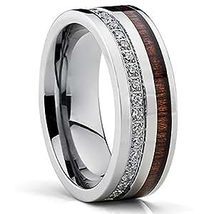 titanium men 39 s wedding band ring with real koa