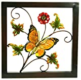 River Cottage Gardens A03849/3-UPS Metal Construction Orange Flower with Butterfly Wall Plaque