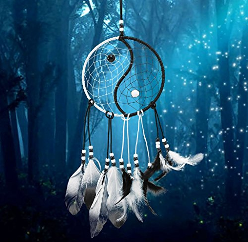 Ussore Dream Catcher Circular White Feathers Wall Hanging Decoration Decor Craft Window Home Decoration Decor