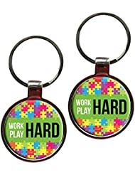 Work Hard Play Hard Inspiring Metal Key Chain Set Of 2
