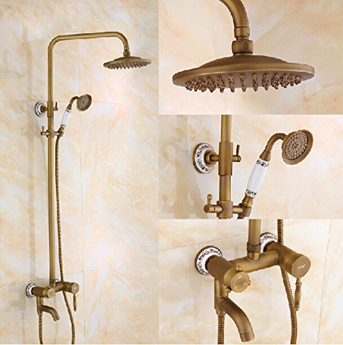 "Rozin 8"" Antique Brass Single Hand Bathroom Rainfall Shower Faucet Swivel Spout Tub Mixer Tap front-529516"
