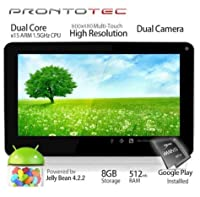 ProntoTec 9 Inch Capacitive Touch Screen Tablet Pc, Allwinner A20 Cortex A9 Dual Core 1.5 Ghz, Android 4.1, 8gb Nand Flash, Ddr3 512mb Ram, Dual Cameras, Wi-fi, G-sensor (White) from GENERIC