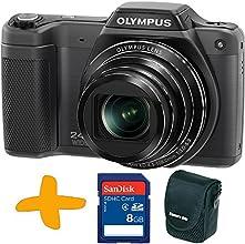 Olympus Stylus SZ-15 Appareil photo numérique + Sandisk 8 Go SDHC Carte mémoire + cas de l'appareil photo Allcam (16MP, zoom optique 24x large, 3 pouces LCD, automatique intelligent) Noir