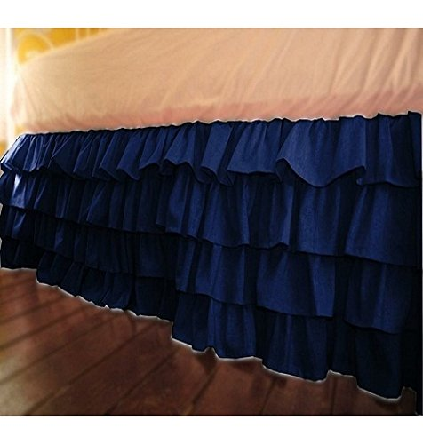ARlinen Super Soft Egyptian Cotton 600-Thread-Count Sateen One Qty Ruffle Bed Skirt (+14 Inch) Pocket Depth Solid Navy Blue Full-XXL Size