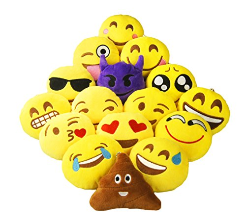 For Sale! Ivenf Pack of 16 10cm/4 Mini Emoji Cushion Pillows Set