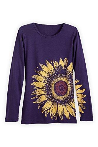 Green 3 Apparel Long Sleeve Sunflower Usa Made Organic T-Shirt (M, Aubergine) front-776838