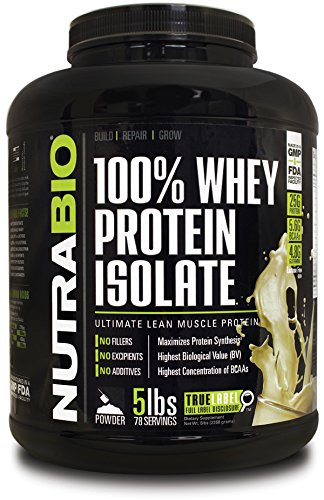 NutraBio 100% Whey Protein Isolate - 5 pounds Vanilla - NO Soy, NO Whey Concentrate, NO...