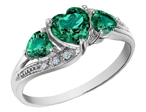 Created Emerald Heart Ring with Diamonds 1.25 Carat (ctw) in 10K White Gold, Size 6.5