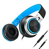 Headphones,AILIHEN C8 Lightweight Foldable Headphone with Microphone Mic and Volume Control for iPhone,iPad,iPod,Android Smartphones,PC,Laptop,Mac,Tablet,Headphone Headset for Music Gaming(Black/Blue)