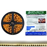 HitLights Warm White Flexible Ribbon LED Strip Light, 300 LEDs, 5 Meters (16.4 Feet) Spool, 12VDC Input (Adapter not included)