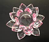 Crystal Lotus Flower Pink/Clear Color 4 X 4 X 2.25 inches with Light Stand; Plus a Free Gift Cellphone Anti-dust Plug