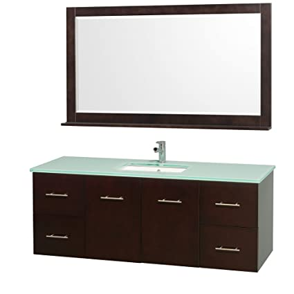 Wyndham Collection Centra 60 inch Single Bathroom Vanity in Espresso with Green Glass Top with Square Porcelain Undermount Sink